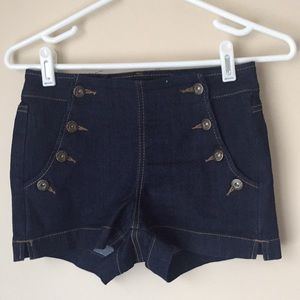 Buttoned Mid Rise Jean Shorts